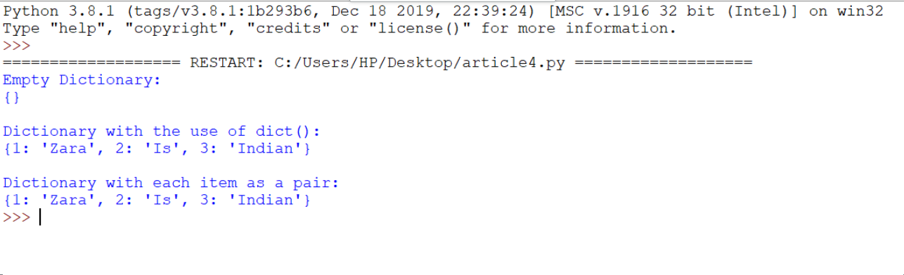 using built-in function dict() output