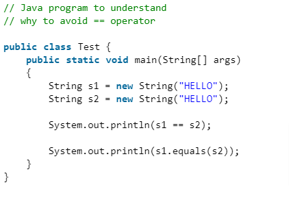 Example Program to understand why not to use == Operator