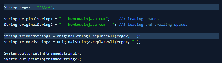 Remove Leading Spaces using replaceAll() Method