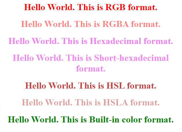 css colors example output