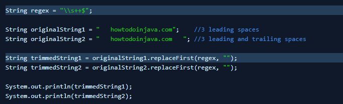 replaceFirst() Method to trim leading and trailing white spaces