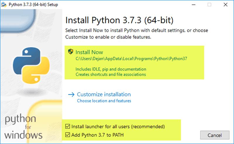 Install Python in windows OS