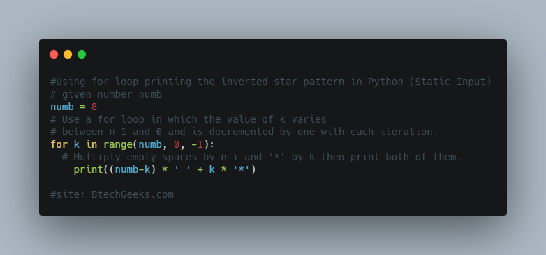 Using for loop printing the inverted star pattern in Python(Static Input)