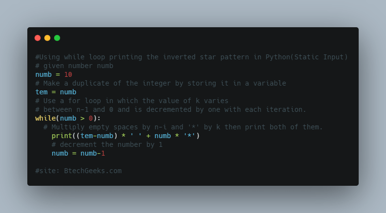Using while loop printing the inverted star pattern in Python(Static Input)