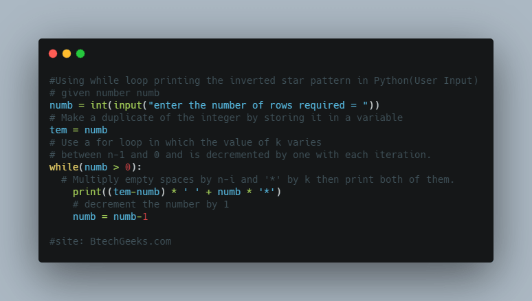 Using while loop printing the inverted star pattern in Python(User Input)