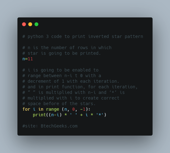 python 3 code to print inverted star pattern
