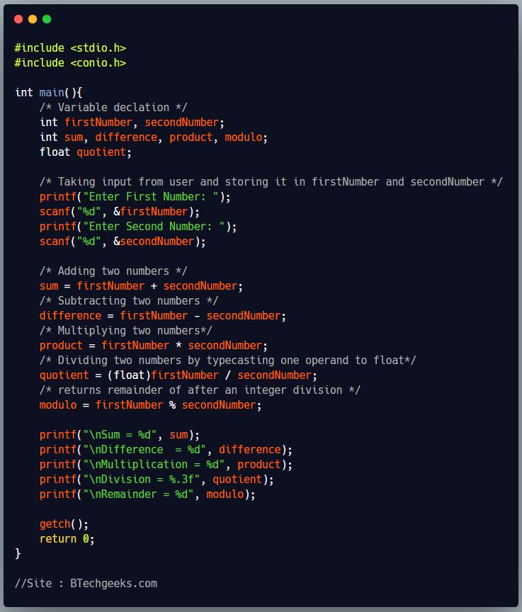 Arithmetic Operators in C