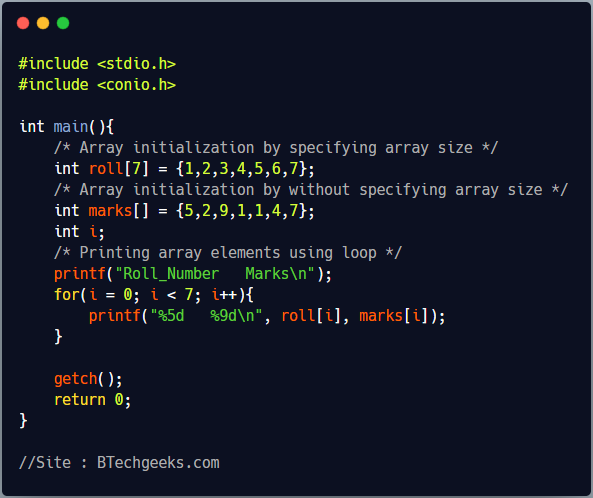 Array Initialization in C Programming