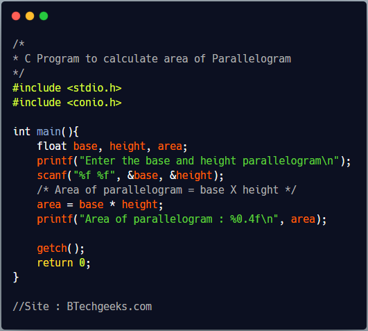 C Program to Calculate Area and Perimeter of Parallelogram