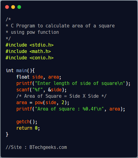 C Program to Calculate Area and Perimeter of a Square