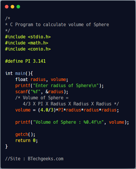 C Program to Calculate Volume and Total Surface Area of Sphere