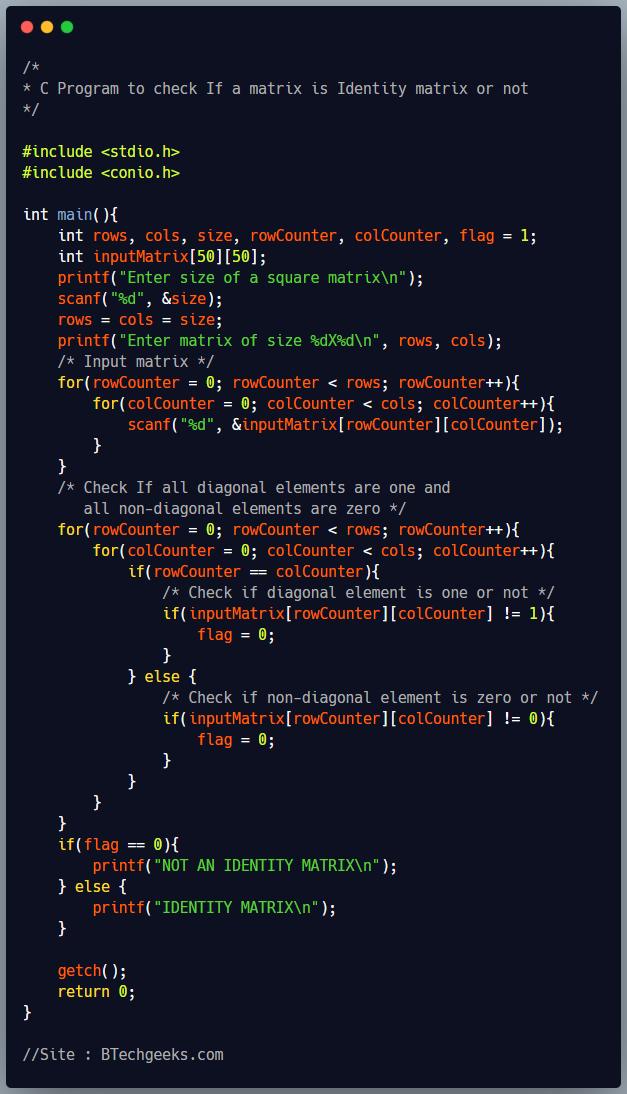 C Program to Check Identity Matrix