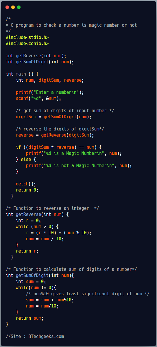 C Program to Check Whether a Number is Magic Number or Not