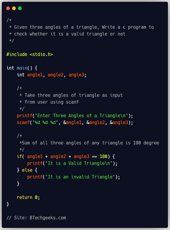 C Program to Check Whether a Triangle is Valid or Not given Angles of Triangle