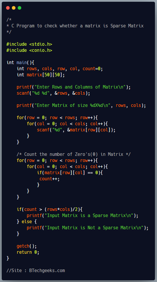 C Program to Check a Matrix is Sparse Matrix or Not