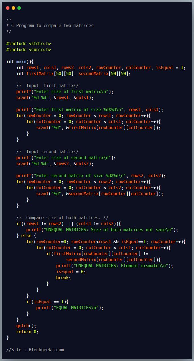 C Program to Compare Two Matrix