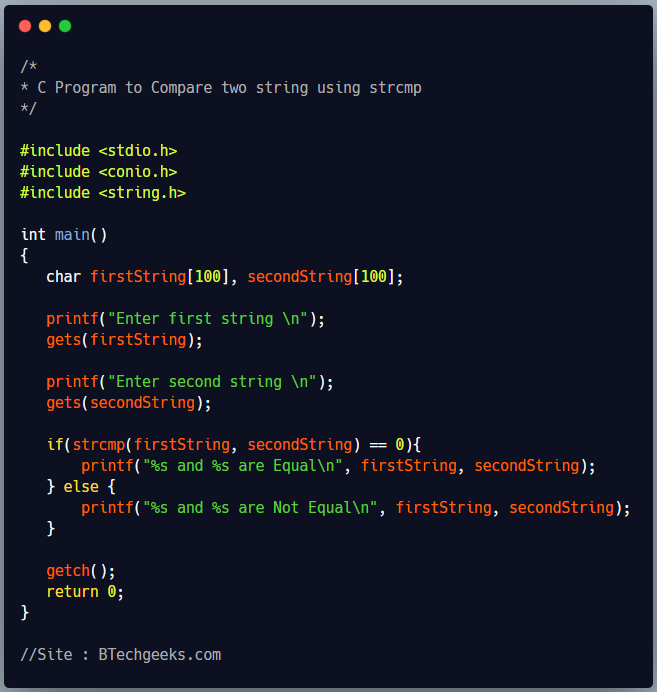 C Program to Compare Two Strings