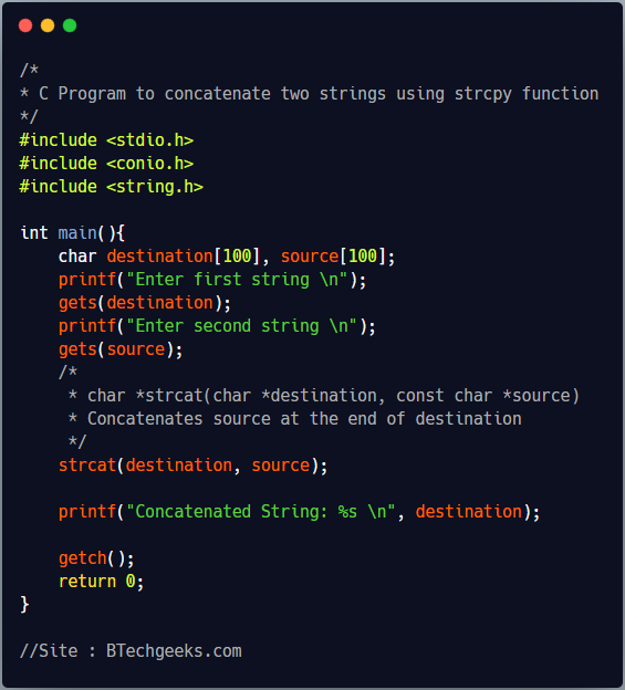 C Program to Concatenate Two Strings
