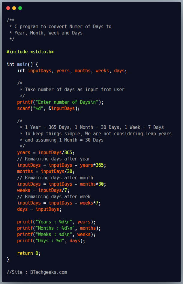 C Program to Convert Number of Days to Week, Months and Years