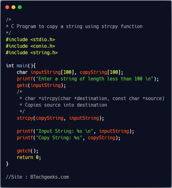 C Program to Copy a String
