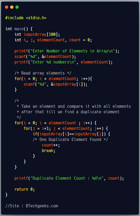 C Program to Count Number of Duplicate Elements in Array