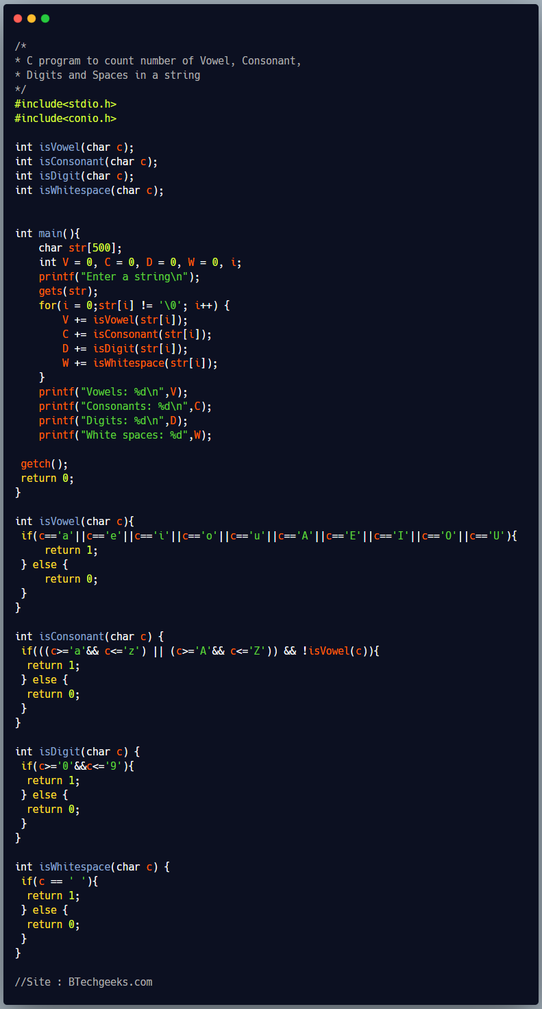 C Program to Count Vowels, Consonants, Digits and Spaces in Given String