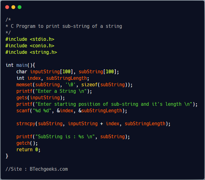 C Program to Fetch a Substring From a String