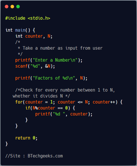 C Program to Find All Factors of a Number using For Loop