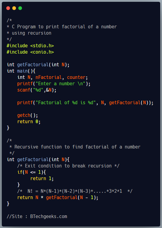 C Program to Find Factorial of a Number using Recursion 2