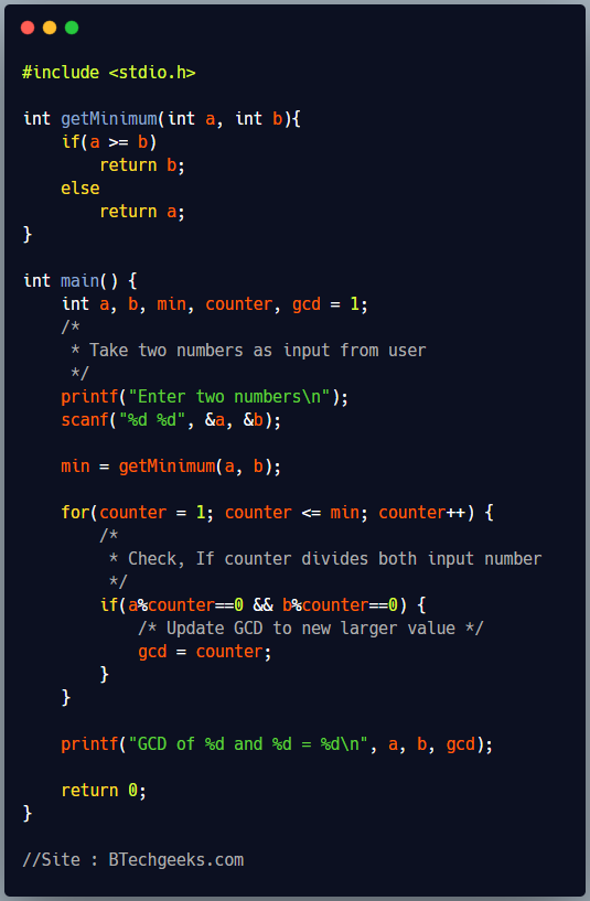 C Program to Find GCD or HCF of Two Numbers using For Loop