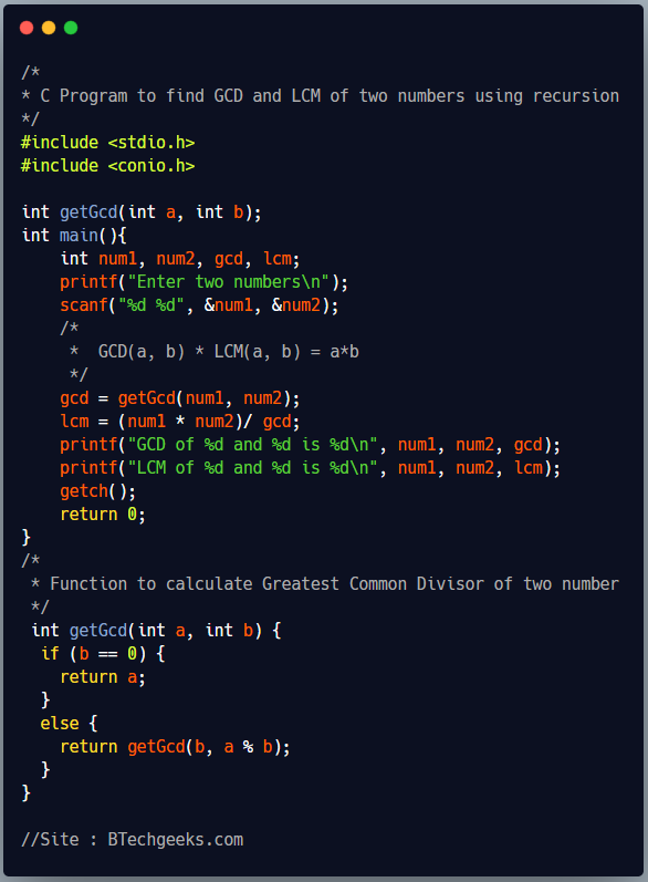 C Program to Find Hcf and Lcm of Two Numbers