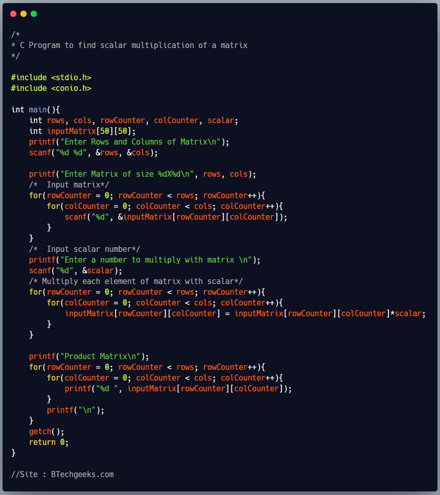 C Program to Find Scalar Multiplication of a Matrix