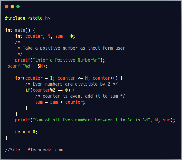 C Program to Find Sum of All Even Numbers Between 1 to N using For Loop
