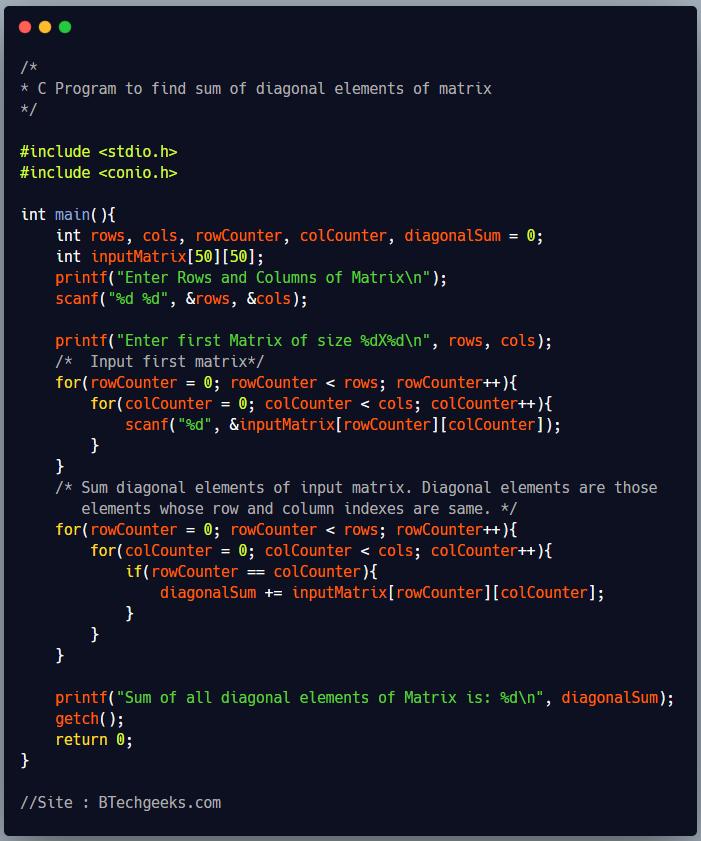 C Program to Find Sum of Diagonal Elements of Matrix