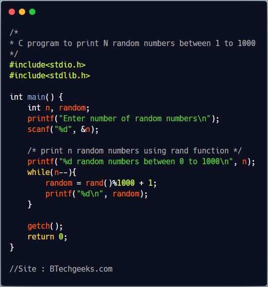 C Program to Generate Random Numbers