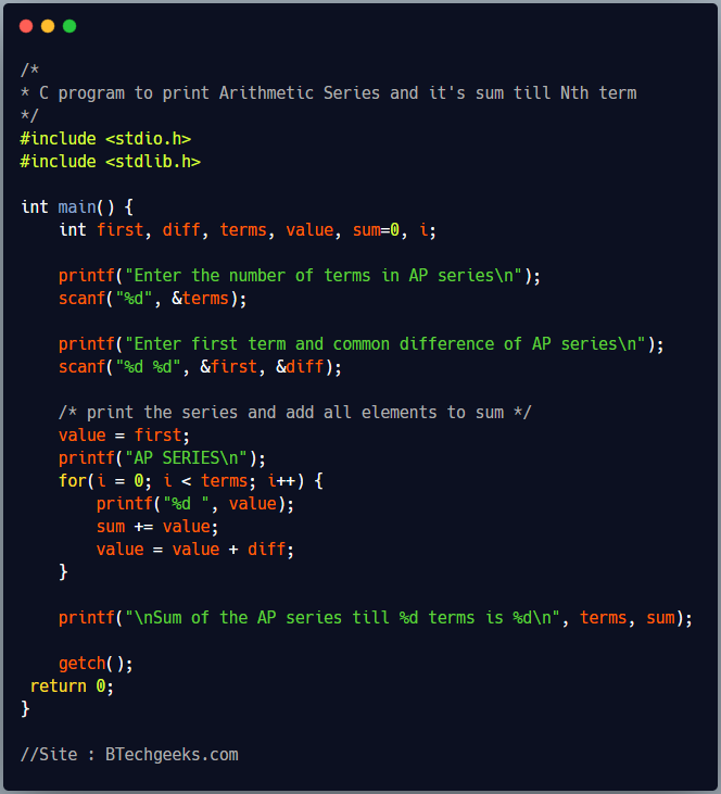C Program to Print Arithmetic Progression(AP) Series and Sum till N Terms