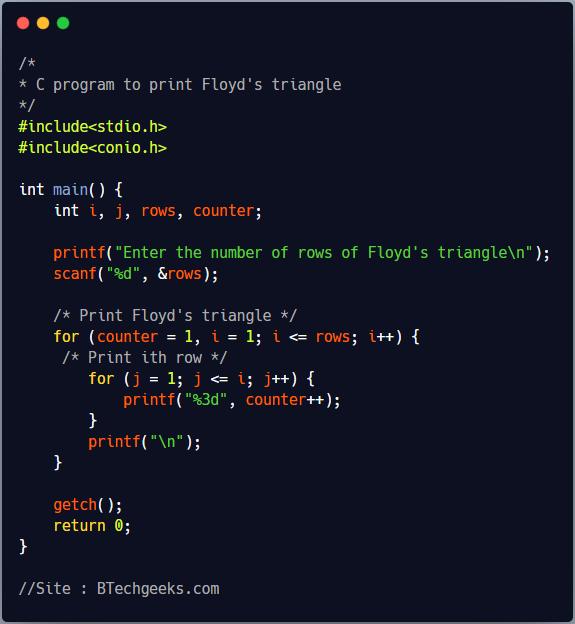 C Program to Print Floyd's Triangle