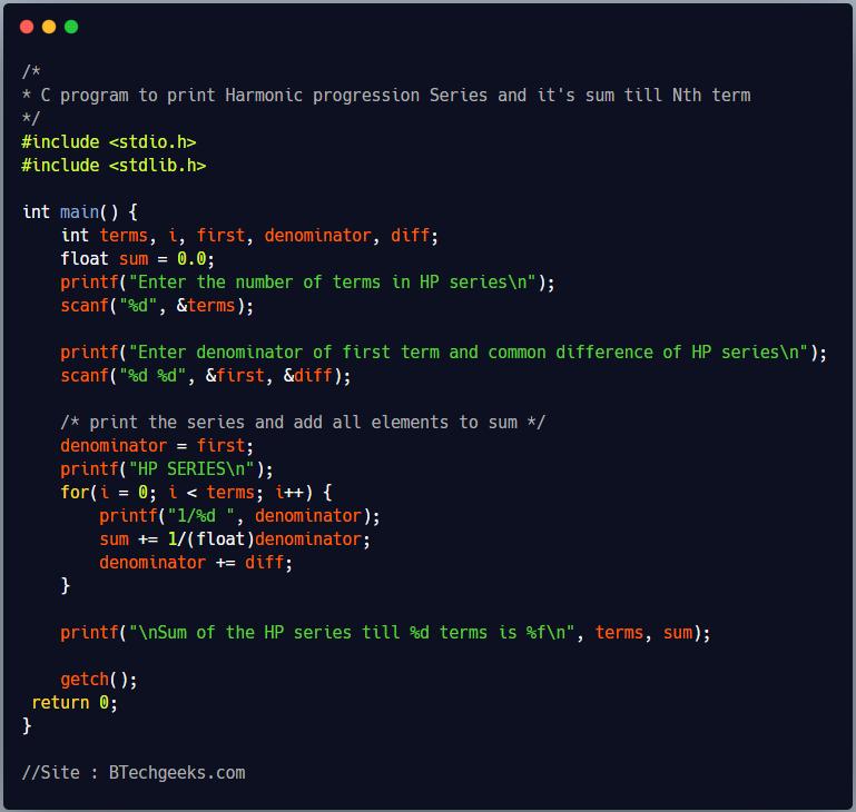 C Program to Print Harmonic Progression(HP) Series and Sum till N Terms