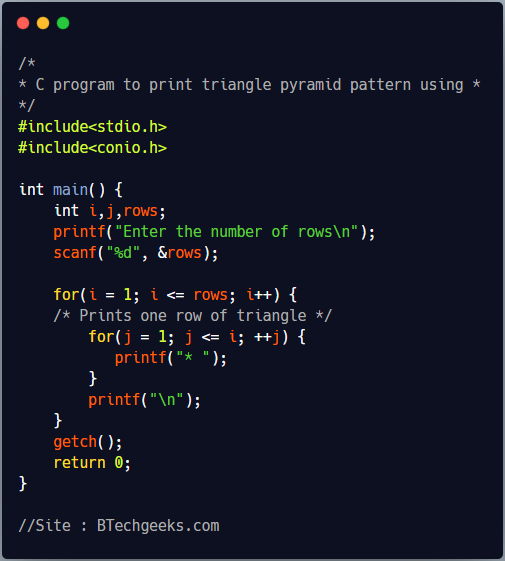 C Program to Print Triangle and Pyramid patterns of Star(*) Character Using Loop