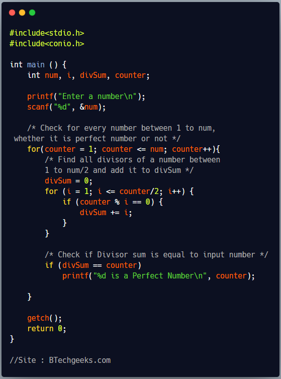 C Program to Print all Perfect Numbers Between 1 to N