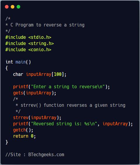 C Program to Reverse a String