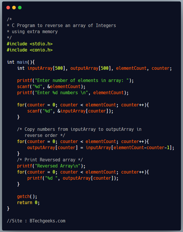 C Program to Reverse an Array