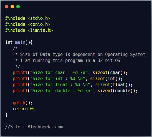 C Program to Show Size of Basic Data Types