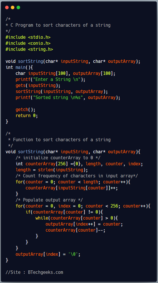 C Program to Sort Characters of a String