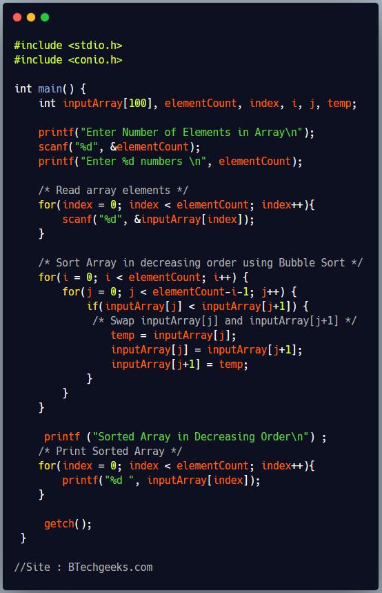 C Program to Sort an Integer Array in Decreasing Order Using Bubble Sort