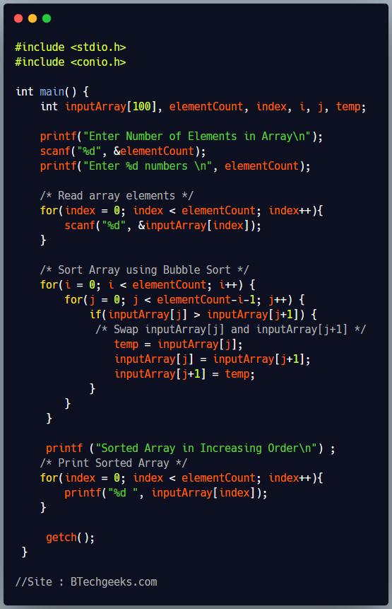 C Program to Sort an Integer Array in Increasing Order Using Bubble Sort