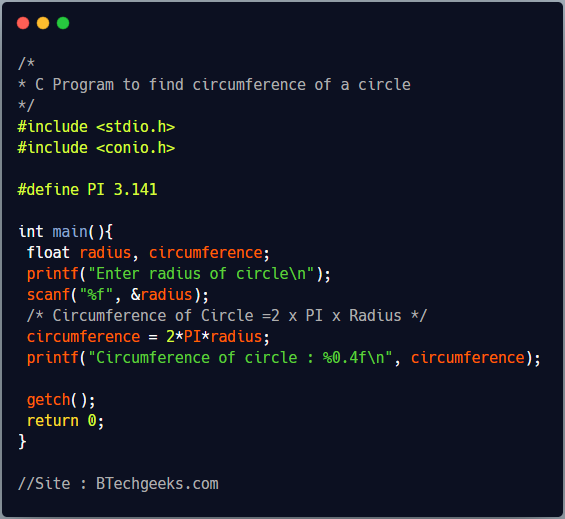C Program to calculate circumference of the circle
