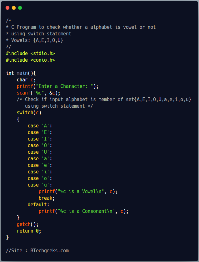 C Program to check whether an alphabet is vowel or consonant using switch statement 1
