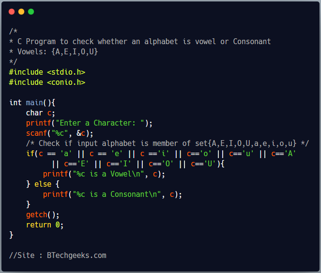 C Program to check whether an input character is vowel or consonant 1