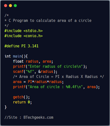 C Program to find the area of a circle using pow function
